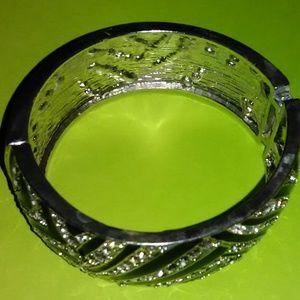 Black and White Rhinestone Zebra Pattern Bracelet